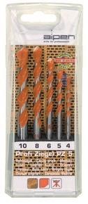 Téglafúró készlet  4 mm - 10 mm Profi Ziegel PZ5, 5 részes | ALPEN 0000200705100