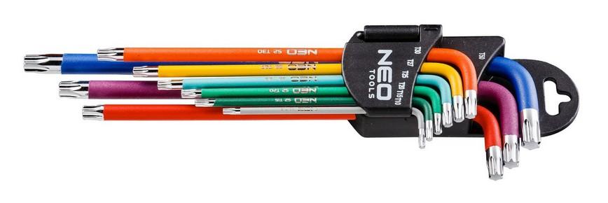 Imbuszkulcs készlet T10 - T50, 9 részes, színes, torx   NEO 09-518