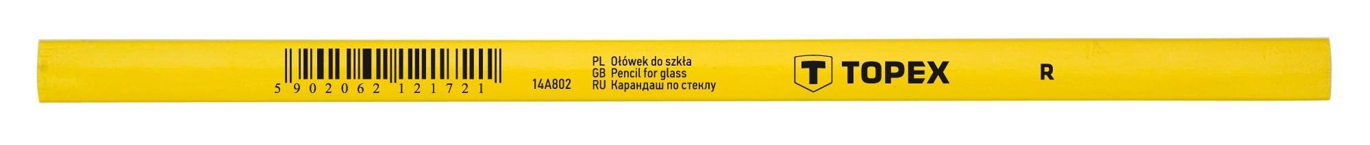 Ácsceruza 240 mm, sárga, üvegre | TOPEX 14A802