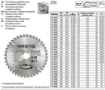 Körfûrésztárcsa, körfûrészlap 250/30 mm Z24 | YATO YT-6070