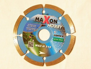 Gyémánt vágókorong, vágótárcsa 115 mm szegmenses, hobby | MAXON MSZ115H