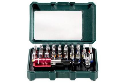 Bit készlet, behajtó készlet 32 részes + adapter + mágneses gyorscscserélős bittartó   METABO 626700000