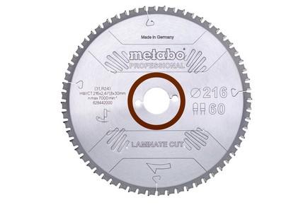 Körfűrésztárcsa, körfűrészlap LAMINATE 216 mm x 30 mm Z66 FZ/TZ 54 | METABO 628446000