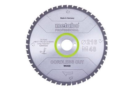 Körfűrésztárcsa, körfűrészlap CORDLESS  PROFESSIONAL216 mm x 30 mm Z28 WZ 5°neg. | METABO 628444000