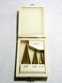 Lemezfúró készlet, lépcsõs fúró készlet 4 - 12 mm, 4 - 20 mm, 4 - 32 mm 3 részes | MANNESMANN 54603