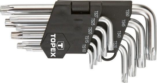 Imbuszkulcs készlet, torx kulcs készlet TS,TS15,TS20,TS25,TS27,TS30,TS40,TS45,TS50, 9 részes, lyukas torx | TOPEX 35D950