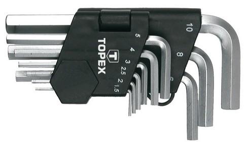 Imbuszkulcs készlet 1,5, 2, 2,5, 3, 4, 5, 6, 8, 10 mm 9 részes | TOPEX 35D955
