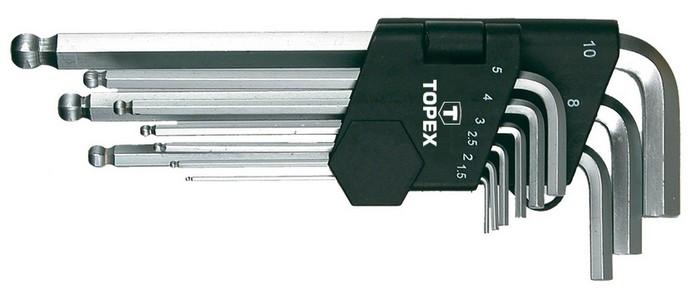 Imbuszkulcs készlet 1,5, 2, 2,5, 3, 4, 5, 6, 8, 10 mm, 9 részes, gömb végû | TOPEX 35D957