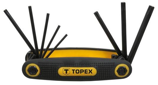 Imbuszkulcs készlet, torx kulcs készlet T9, T10, T15 ,T20, T25, T27 ,T30 ,T40, 8 részes, torx, bicskás | TOPEX 35D959