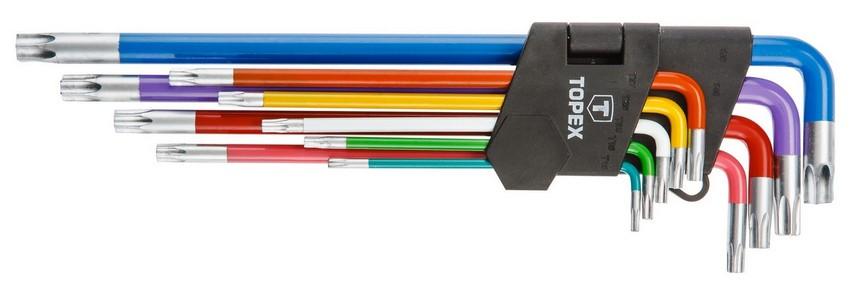 Imbuszkulcs készlet T10 - T50 torx 9 részes, színes | TOPEX 35D969