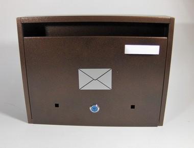 Postaláda, levélszekrény lakótelepi, bronz, levél matricás