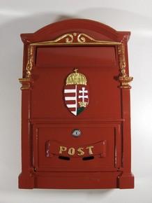 Postaláda, levélszekrény öntött nagy V400 címeres, piros   2300185
