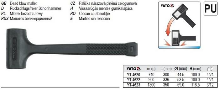 Gumikalapács 0,9 kg visszarúgás mentes | YATO YT-4622