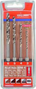 Fafúró készlet, fafúrószár készlet 3 mm - 6 mm Profi Holz ATM4, 4 részes, bitbefogású | ALPEN 0000603002100