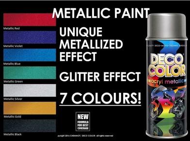 DECO COLOR Acryl metallic fémhatású, akril festék spray 400 ml metál zöld | DECO COLOR D15400