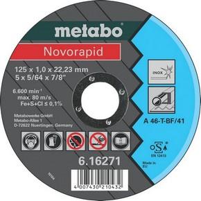 Vágókorong fémvágó Novorapid 125 mm x 1,0 x 22mm / 23 mm Inox | METABO 616271000/616904000