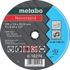Vágókorong fémvágó Novorapid 230 mm x 1,9 mm x 22,2 mm Inox | METABO 616274000