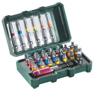 Bit készlet, behajtó készlet 29 részes + adapter + mágneses gyorscserélős.bittartó | METABO 626710000