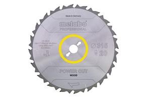 Körfűrésztárcsa, körfűrészlap POWER PROFESSIONAL 315 mm x 30 mm Z24 WZ 20°  | METABO 628016000