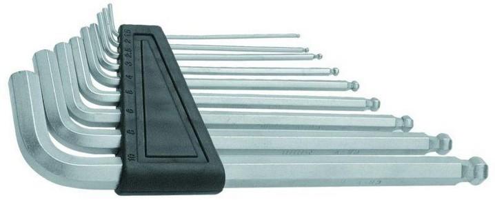 Imbuszkulcs készlet 1,5 mm - 10 mm gömbvégű, hosszú, 9 részes | MODECO N54118