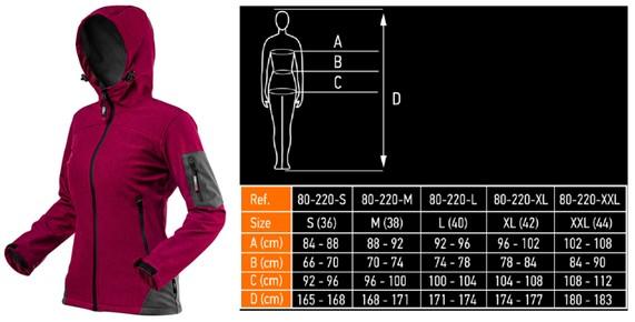 Softshell kabát XXL-es Női szél és vízálló szilva-magenta| NEO 80-550-XXL